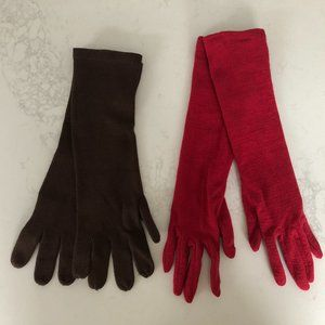 Echo/Mantles 2 pairs of long Gloves Red/Brn sz OS